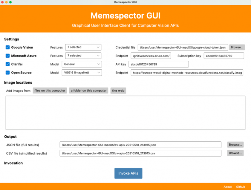 Memespector GUI: research software that supports multiple visions APIs